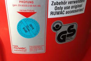 Ruwac Sauger Prüfplakette